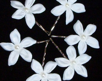 Wedding Stephanotis Hair flower and Pearls 6 Pcs set,Flower Girl,Bridal Hair Flower,BridesmaidHair Flower