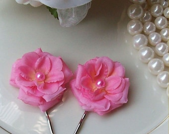 Bright Pink Rose Hair Pin Set