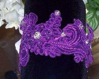 Purple Garter,Wedding Garter,Lace Garter,Rhinestone Garter,Purple Wedding,Lace Garter,Plus Size Garter,Purple Garter Set