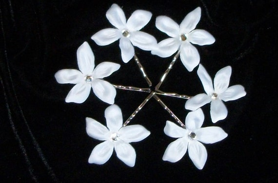 Last Set,Stephanotis Swarovski Crystal Hair Flowers , Wedding,White Hair Flower,Bridal Hair Flower