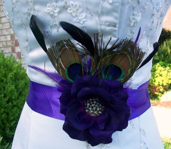 Purple sashwedding sash peacock sashlittle black dress for Peacock wedding dress sash