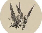 vintage flying monkeys (2.25-in magnet pinback button badge keychain bottle opener pocket mirror)