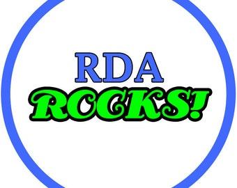 RDA rocks (2.25-in magnet pinback button badge keychain bottle opener pocket mirror)