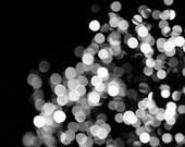 50% OFF, Black and White Abstract Photograph - lights, bokeh, silver, living room decor, glitz, bedroom decor, foyer decor, nursery