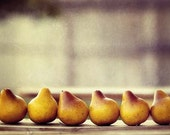 Autumn Food Fruit Photography - Pears in a Row - fall harvest Thanksgiving holiday foodie kitchen Peach Orange Earth Tones golden yellow - AmeliaKayPhotography