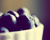 Blueberries - Food Photography Print - 8x10 Foodie Photograph -  berries plump fresh midnight blue dark navy white warm hues fall autumn