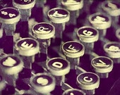 Still Life Photography - The Old Typewriter - fall autumn decor school macro cream texture keys text round circles tan dark gift idea art