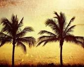 At Sunset -  Landscape Travel Photograph  8x10 Nautical golden yellow black shadow orange tangerine tango rustic rust red