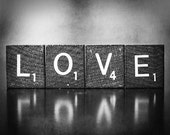 Love Is A Beautiful Word, Black and White Photography, nursery decor silver grey letters vintage feel love living room decor, 11x14