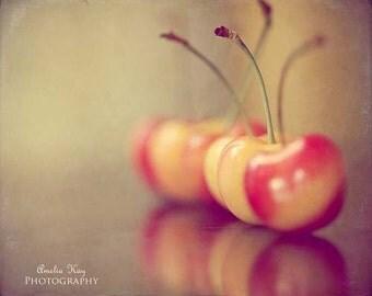 Sweet Cherries - Fall Food Photography - Spring, Foodie Fruit rustic tangerine tango peach golden yellow pink