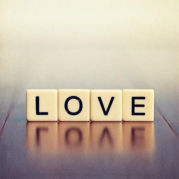 50% OFF Love Romantic Photograph - word text typography blue purple white cream black lilac happy dreamy 4x4