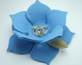 Lily Pad Felt Bowl in 3mm Virgin Merino Wool Felt-Baby Blue