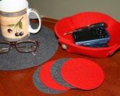 Trivet and Bowl Set in 5mm Thick Virgin Merino Wool Felt