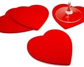 Felt Heart Vantines Day Romantic Gift for her Coasters 5MM Thick Virgin Merino Wool Drink Coaster  Set Wedding Favor
