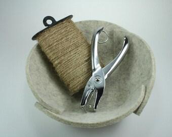 Small Felt Bowl in 5MM Thick Merino Wool Felt, Sandstone