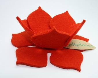 Lily Pad Felt Bowl in 3mm Virgin Merino Wool Felt-Orange