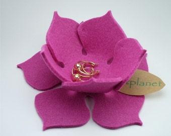 Pink Lily Pad Felt Bowl Ring Bearer Pillow Alternative Eco-friendly Wedding 3mm Merino Wool Felt Ring Catcher Dish