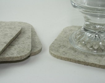 Square Felt Drink Coasters in 5MM Thick Virgin Merino Wool Eco friendly Felted Fabric Barware Hostess Housewarming Gift