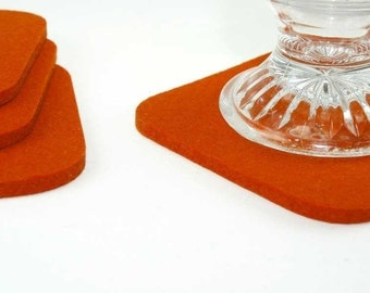Felt Coasters, Drink Coasters, Fabric Coasters, Thick Wool Coasters, Bar Coasters, Felted Wool Coaster Set, Square Coasters, Orange Coasters