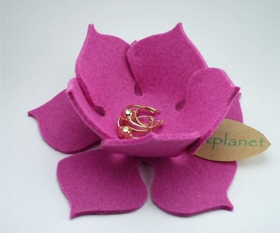 Lily Pad Felt Bowl in 3mm Virgin Merino Wool Felt-Pink