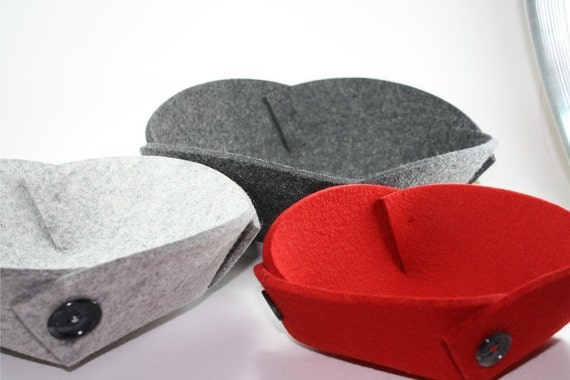 Felt Nesting Bowls in 5mm Thick Virgin Merino Wool Felt