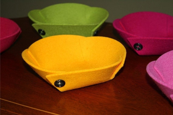Catch All Bowl 3mm Thick Virgin Merino Wool Felt Fabric Collapsible Travel Valet Tray Felted Catchall Dish Home Decor Desk Accessories