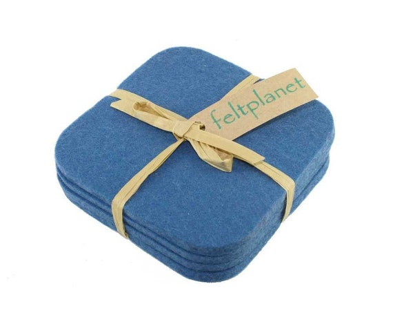 Blue Square Cup Mug Coasters Kitchen Decor Accessory 5mm Thick Wool Felt Wedgewood Drink Coaster Set Housewarming Hostess Gift Accessories
