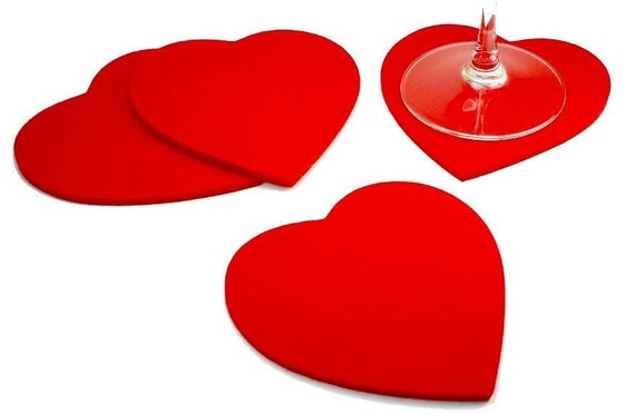 Felt Heart Vantines Day Romantic Gift for her Coasters 5MM Thick Virgin Merino Wool Drink Coaster  Set Wedding Favor