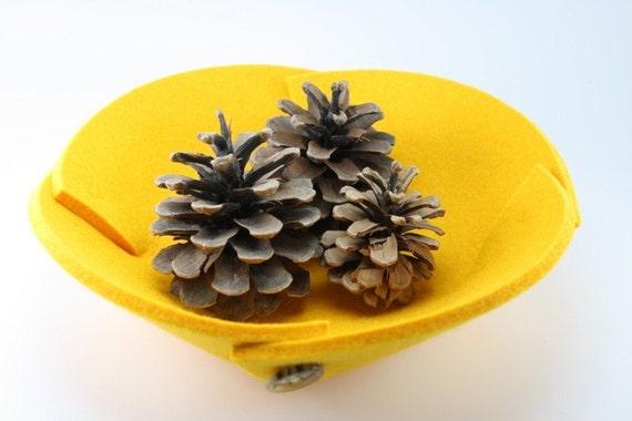 Small Felt Bowl in 5mm Thick Virgin Merino Wool Felt-Yellow