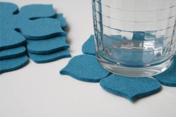 Flower Power Coasters in 3mm Thick Virgin Merino Wool Felt Fabric Eco Friendly Felted Retro Sustainable Housewarming Hostess Gift