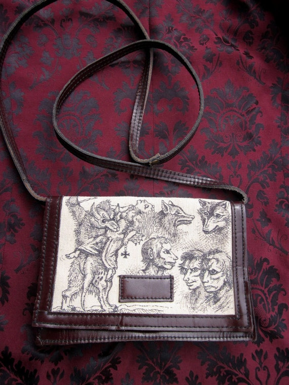 Werewolf Woodcuts Hand-Illustrated Altered Purse Doodle Bag
