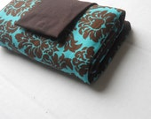 INTERCHANGEABLE NEEDLE CASE-Teal and brown damask