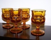 Amber Thumbprint Wine Goblets