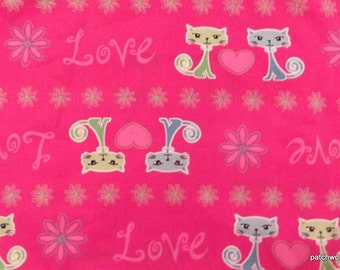 One Yard Of Kitty Love Fabric On A Pink Background