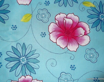 One Yard Blue Floral Brother And Sister Design Fabric