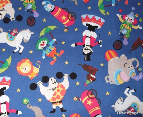 One Yard of M Liss Circus Tossed Fabric