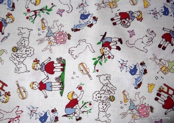 One yard vintage children tossed fabric for Vintage childrens fabric by the yard