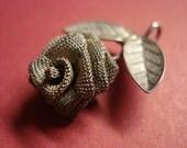 Vintage Necklace or Bracelet Pendant, Silver Rose with leaves