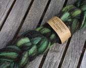 Humbug Jacob roving in 'Greens': 50g wool for spinning or felting