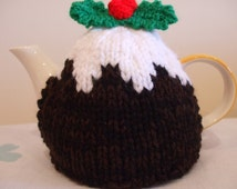 Hand Knitted Small Christmas Pudding Tea Cosy Cosies *FREE UK POSTAGE*