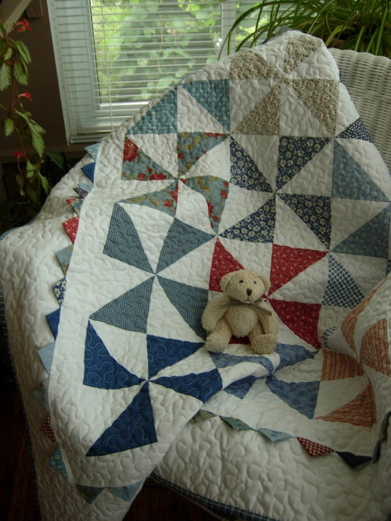 Little Boy Blue Pinwheel Baby Quilt