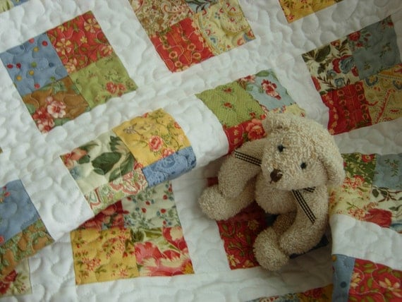 Patchwork Flower Box Baby Quilt 32x37 inches Baby Girl Quilt