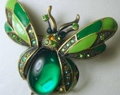 Green Hornet, Bee Pin, Green Rhinestone Insect  Pin, St Patricks day Pin, , Lime, Emerald,  Art Deco Style, 1990s, Green, Lime Enamel, BRASS