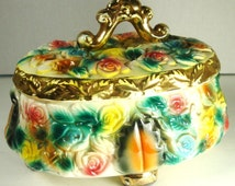 KITSCH Mid century Porcelain Dresser Box. Painted Roses Leaves.Glitzy, Bower of Flowers,1950s Candy or Jewelry Box, Pink Green, Chocolate