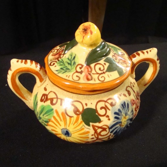 French Ceramic Sugar Bowl 1950s Folk Pottery Country Cottage