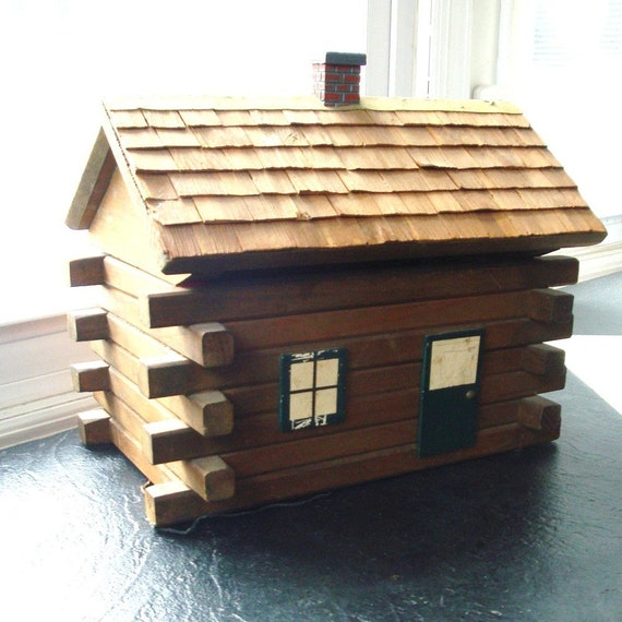 Vintage Log Cabin Wooden Box Probably By Vintagestarrbeads