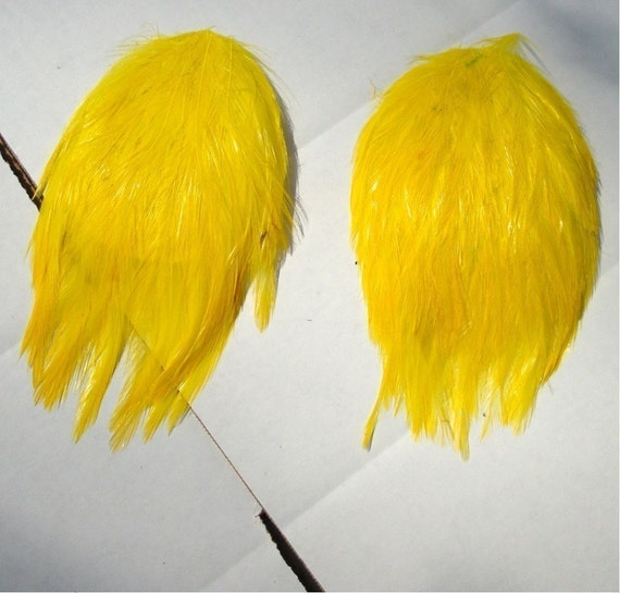 2 Feather Pads..Yellow  Feathers..Vintage 1980s..Easter Chick Yellow Feathers, Make a Headband, Fascinator, Brooch.. Hat