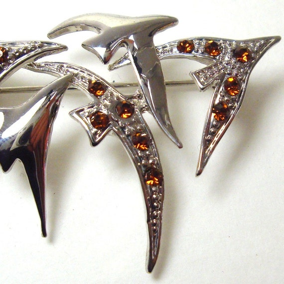 Rhinestone Pin, Flying Birds Pin,  Migration, Amber Stones, Silver Pin, 1980s,  Seagulls,  Going South , Unused