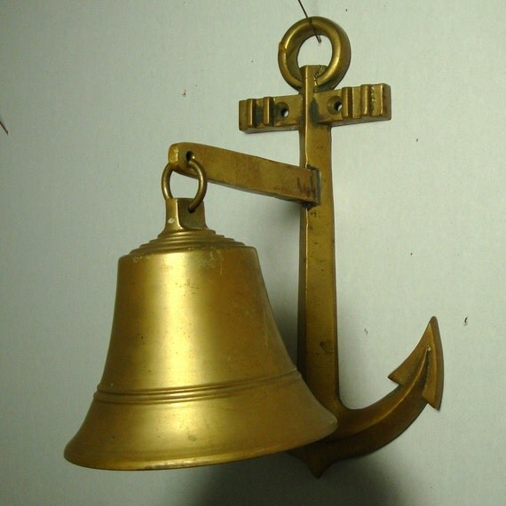 Nautical Bell, Brass Bell, Ships Anchor , Wall Hanging Bell, Heavy Metal, Loud Ringer..No Hammer, attach a cord to clanger loop