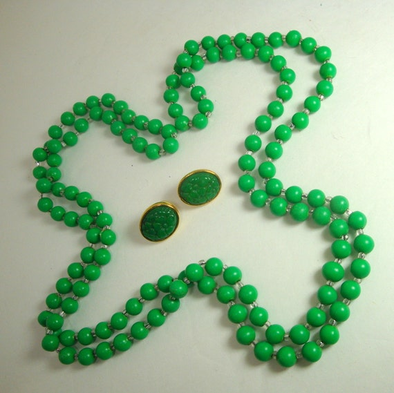 Kelly Green Jewelry Set, Necklace and Earrings, Quickie Price, Useful jewels, Emerald Isle Green, Fun